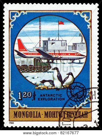 Vintage  Postage Stamp.  Soviet Plane And  Penguins.