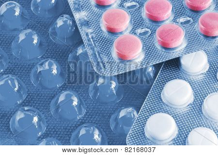 Pink Medical Pills With Blue Tint