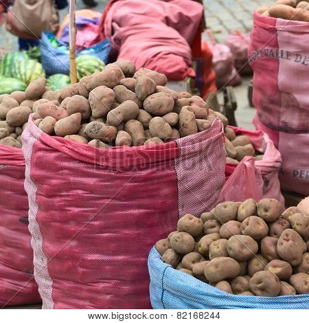 Potato Stand on Street Market in La Paz, Bolivia