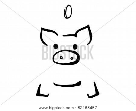 piggy bank icon, black and white