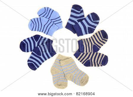 Cute Little Baby Boy Socks Isolated On White.