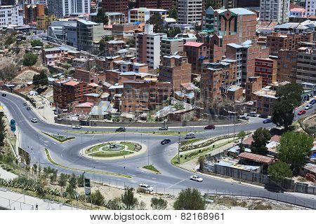Roundabout in La Paz, Bolivia