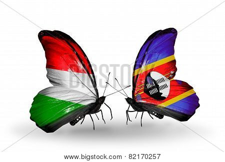 Two Butterflies With Flags On Wings As Symbol Of Relations Hungary And Swaziland