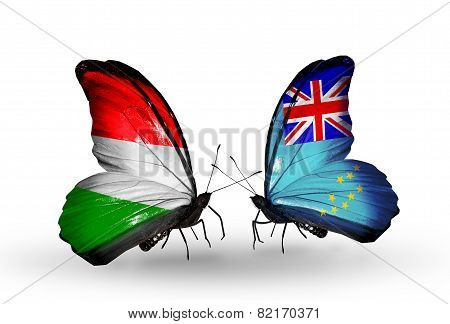 Two Butterflies With Flags On Wings As Symbol Of Relations Hungary And Tuvalu