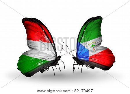 Two Butterflies With Flags On Wings As Symbol Of Relations Hungary And Equatorial Guinea
