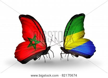Two Butterflies With Flags On Wings As Symbol Of Relations Morocco And Gabon