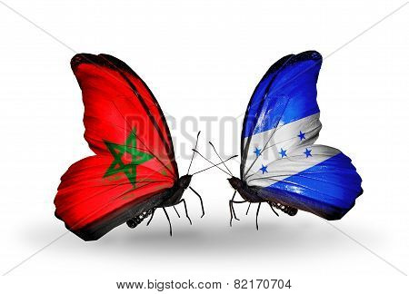 Two Butterflies With Flags On Wings As Symbol Of Relations Morocco And Honduras