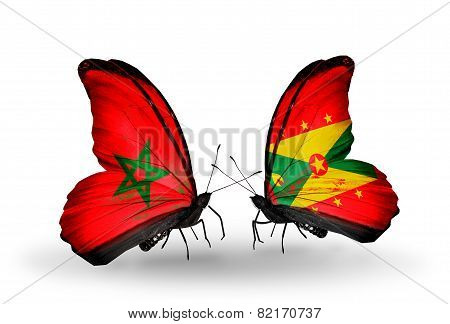Two Butterflies With Flags On Wings As Symbol Of Relations Morocco And Grenada
