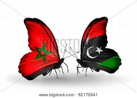 Two Butterflies With Flags On Wings As Symbol Of Relations Morocco And Libya