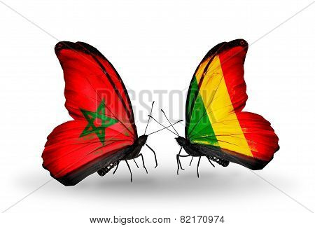Two Butterflies With Flags On Wings As Symbol Of Relations Morocco And Mali