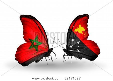 Two Butterflies With Flags On Wings As Symbol Of Relations Morocco And Papua New Guinea