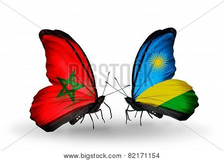 Two Butterflies With Flags On Wings As Symbol Of Relations Morocco And Rwanda