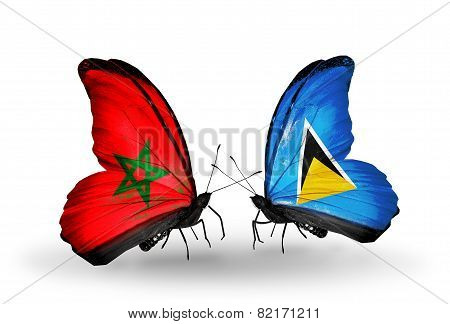 Two Butterflies With Flags On Wings As Symbol Of Relations Morocco And Saint Lucia