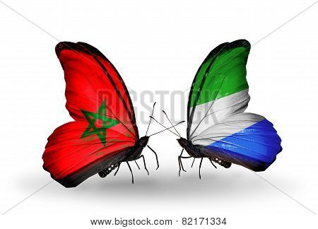 Two Butterflies With Flags On Wings As Symbol Of Relations Morocco And Sierra Leone