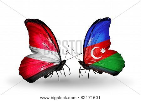 Two Butterflies With Flags On Wings As Symbol Of Relations Latvia And Azerbaijan