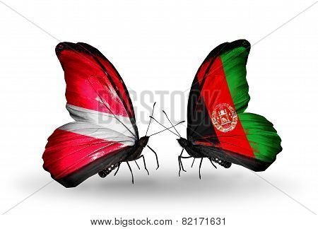 Two Butterflies With Flags On Wings As Symbol Of Relations Latvia And Afghanistan