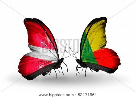 Two Butterflies With Flags On Wings As Symbol Of Relations Latvia And Benin