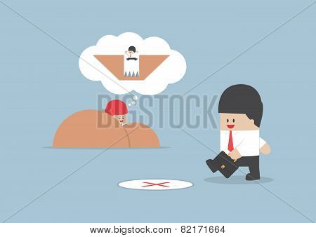 Businessman Walking Into A Trap, Business Concept