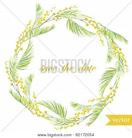 spring, flowers, card, symbol, mimosa, wreath,8