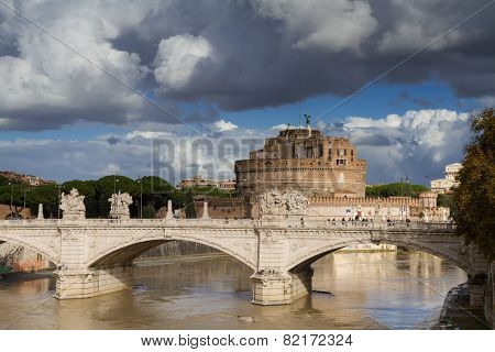 Castel Sant'angelo Under A Cloudy Sky