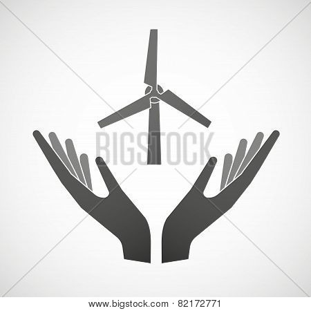 Two Hands Offering A Wind Generator