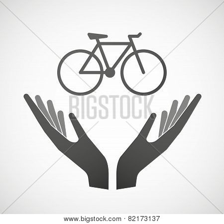 Two Hands Offering A Bicycle
