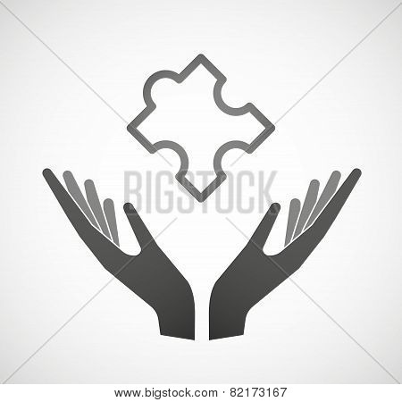 Two Hands Offering A Puzzle Piece