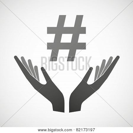 Two Hands Offering A Hash Tag
