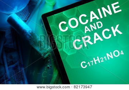 Tablet with the chemical formula of Cocaine and crack.
