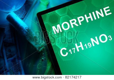 Tablet with the chemical formula of Morphine.