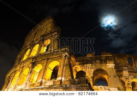 Roman Coliseum Under A Full Moon