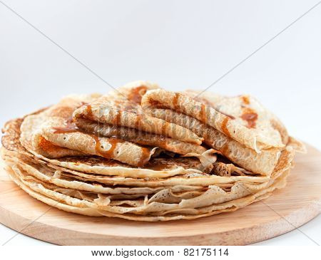 Thin Pancakes, Crepes With Caramel Syrup