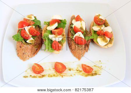 Tapas With Mozzarella And  Cherry Tomatoes