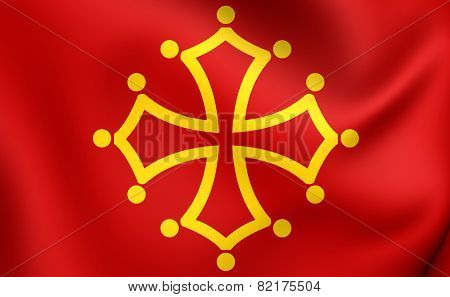 Flag Of Midi-pyrenees, France.