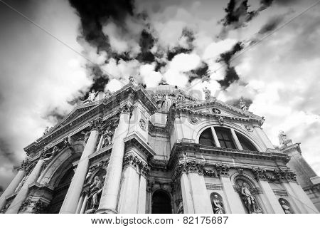 Low Angle View Of Santa Maria Della Salute Church Bw