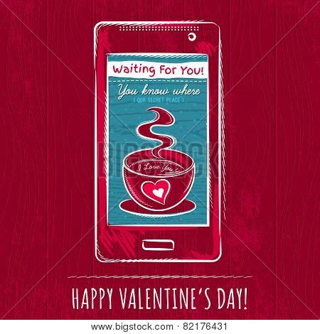 Red Valentine Card With Smart Phone,  Vector