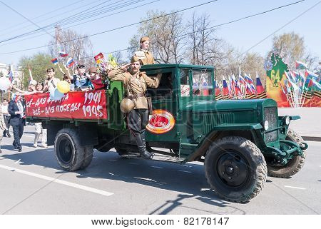 ZIS-5 truck with soldier and children on parade