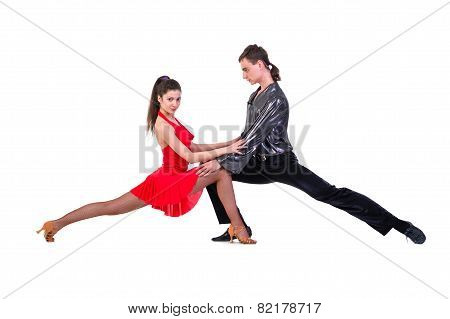 Latino dancers posing. Isolated.