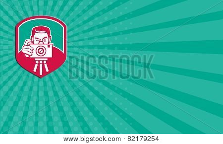 Business Card Photographer Shooting Camera Shield Retro