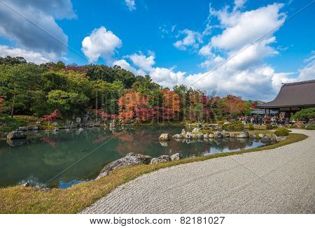 Tenryu-ji Garden In Fall, Arashiyama, Kyoto, Japan