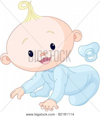 Illustration of creeping baby boy