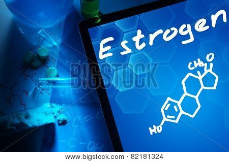Tablet with the chemical formula of estrogen.
