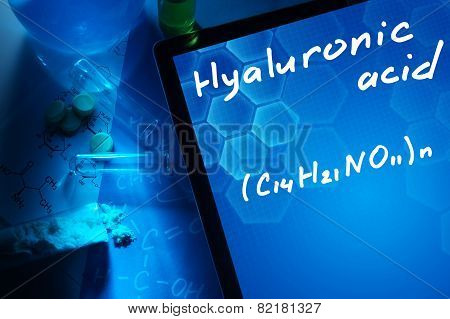 Tablet with the chemical formula of hyaluronic acid.