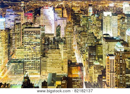 Aerial New York City skyline urban skyscrapers at night, USA.