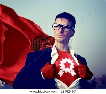 Award Strong Superhero Success Professional Empowerment Stock Concept