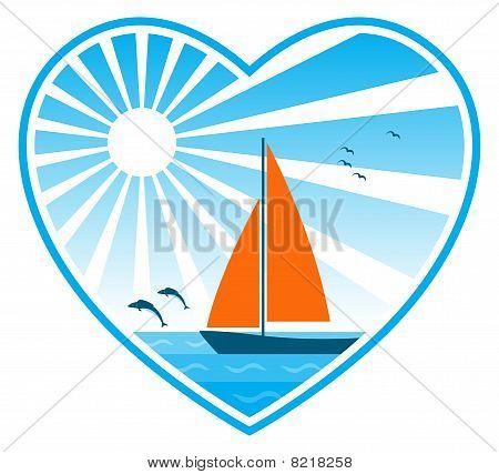 Meer, Sonne und Segelboot im Herzen