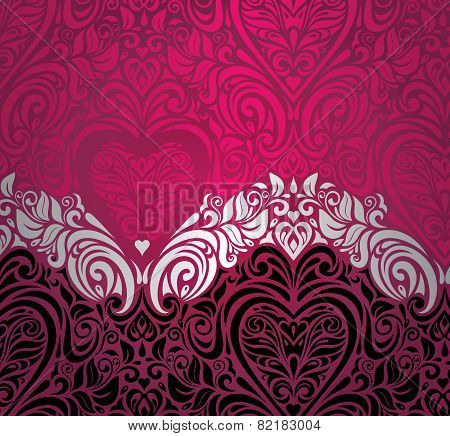 Fashionable red vintage valentine's day invitation background design
