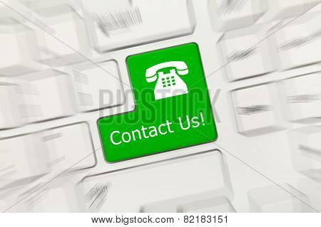 White Conceptual Keyboard - Contact Us (green Key With Phone Sign). Zoom Effect