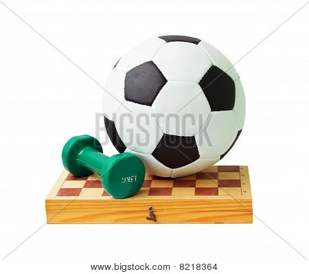 Football, Chess Board And Dumbbell
