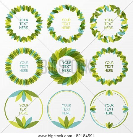 Set Of Fresh Green Leaves Vector Frame. Nature Border Background With Place For Text. Ecology Concep